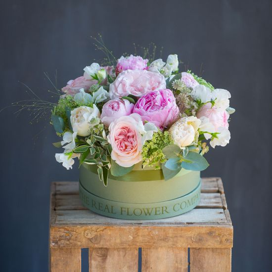 Chelsea Pastel Pink Hat Box Arrangement