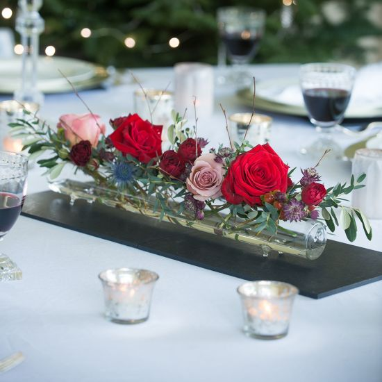 Christmas Glass Flower Tube & Posy