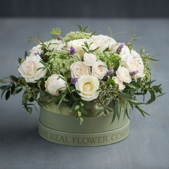 Ivory Hat Box Arrangement