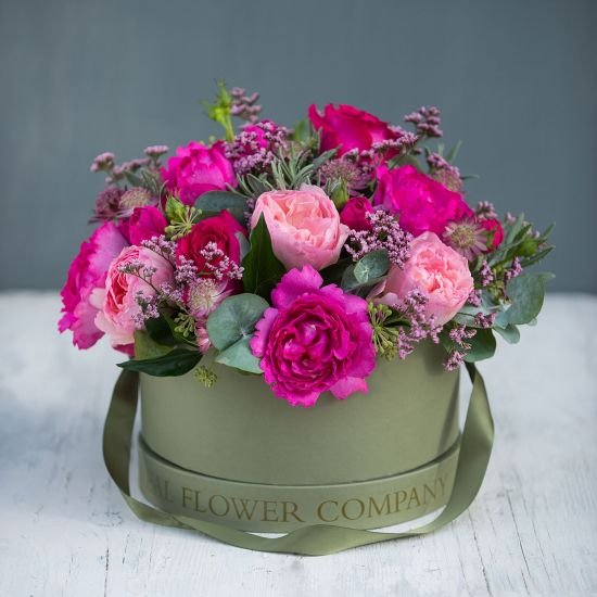 Pretty Pink Hat Box Arrangement