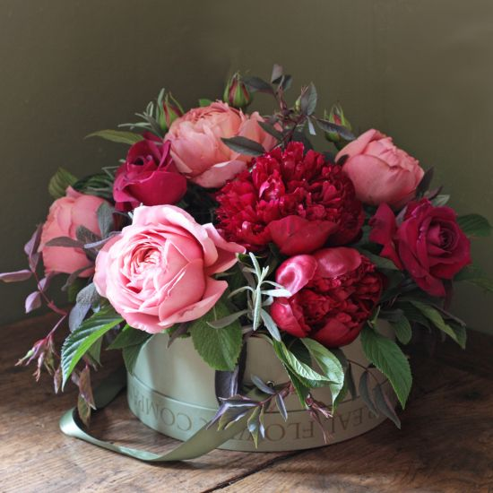 Peony & Romantic Antike Hat Box Arrangement
