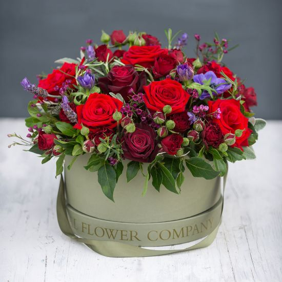 Romantic Rose Hat Box Arrangement