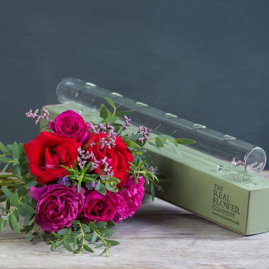 Valentines Glass Tube & Posy