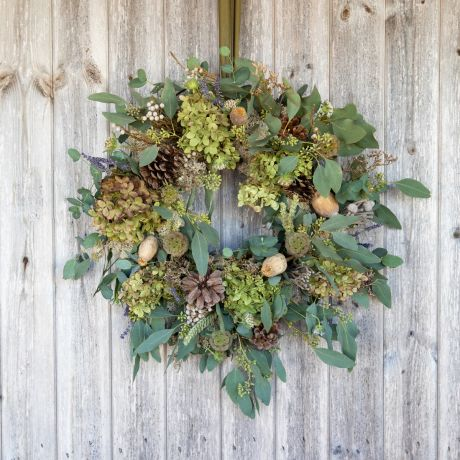Dried Seed Head Door Wreath