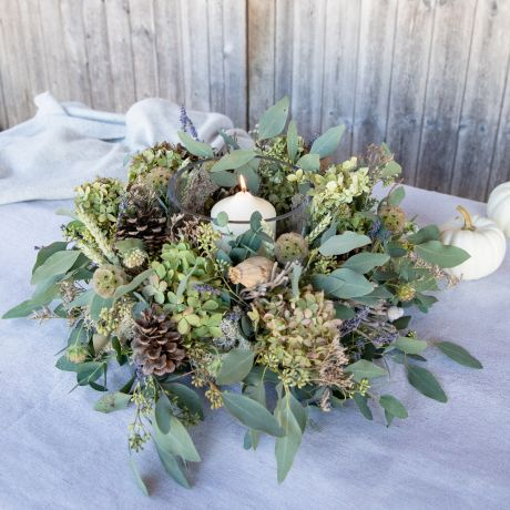 autumn seed head dried door wreath