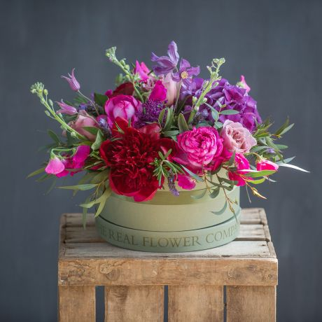 Chelsea Deep Red & Purple Hat Box Arrangement