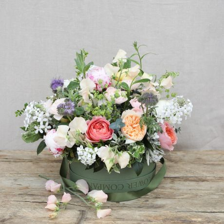 Chelsea Flower Show English Garden Hatbox Arrangement
