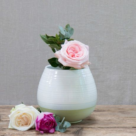 Green Hand-painted Round Vase