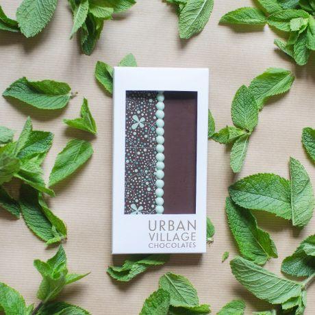 Mint Crisp Dark Chocolate Bar 110g By Urban Village Chocolates