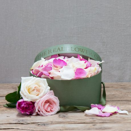 Mixed Pink Fresh Rose Petals In A 5 Pint Hatbox