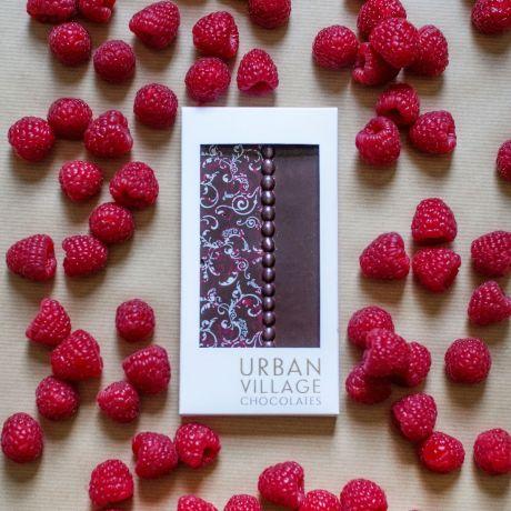 Raspberry Dark Chocolate Bar 110g By Urban Village Chocolates