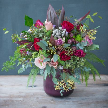 Red, Antique & Plum Christmas Bouquet