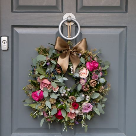 Red, Antique & Plum Rose Door Wreath
