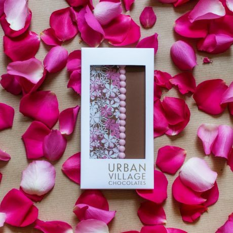 Rose & Bergamot Milk Chocolate Bar 110g By Urban Village Chocolates