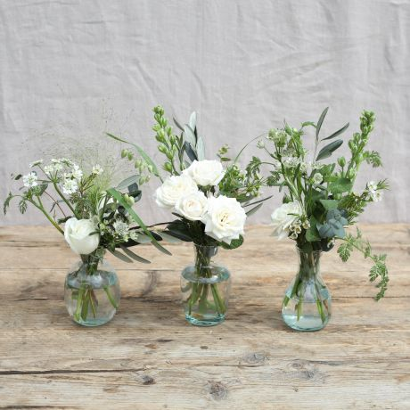 Rustic White Vase Trio