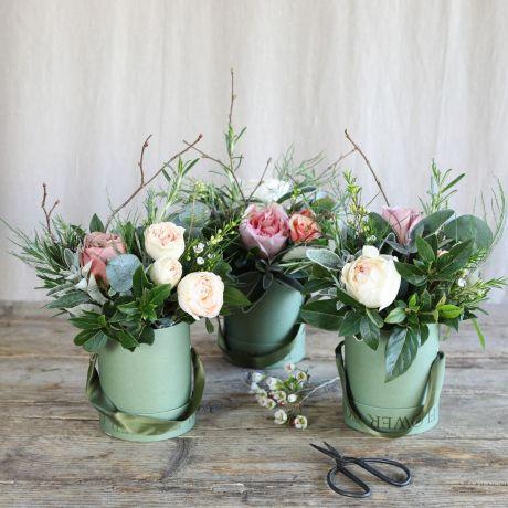 Antique Blossom Trio Hat Box Arrangement