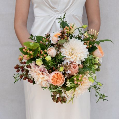 Seasonal Peach and Apricot Bridal Bouquet