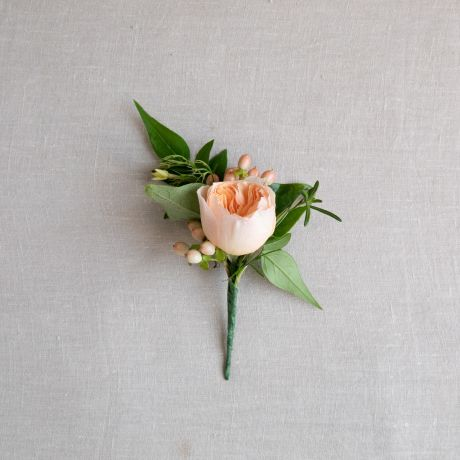 Seasonal Peach and Apricot Buttonhole