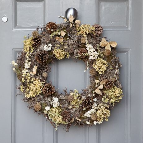 Dried Rustic Woodland Christmas Door Wreath