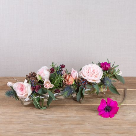 glass flower tube and posy woodland antique