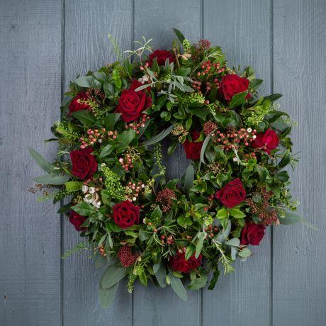 classic red christmas door wreath
