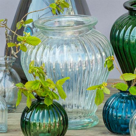 Clear Ribbed Glass Vase