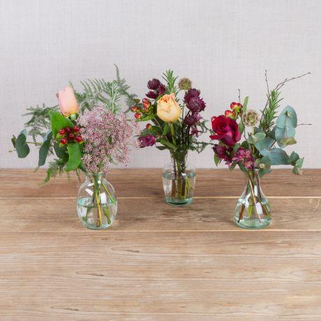copper plum and gold flower vase trio