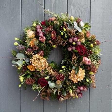 Copper, Plum and Gold Rose Door Wreath