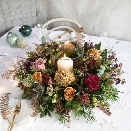 Copper, Plum and Gold Rose Table Wreath