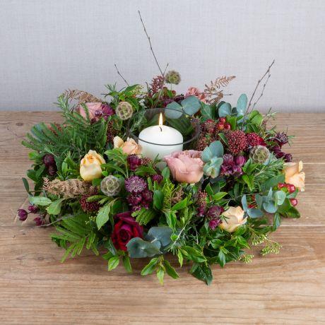 copper plum gold table wreath