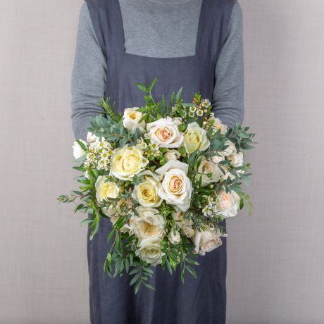 cream and ivory funeral bouquet