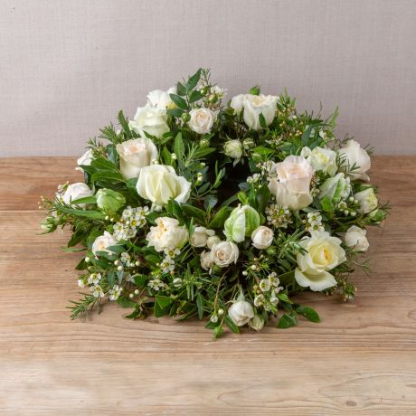 Cream and Ivory Funeral Wreath