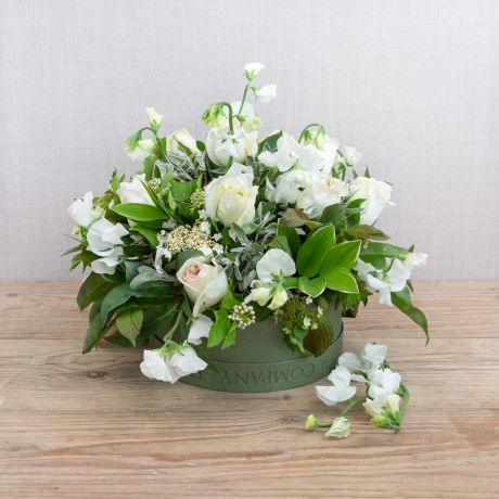 cream and ivory hatbox pick of the day arrangement