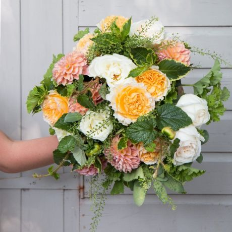 david austin and dahlia bouquet