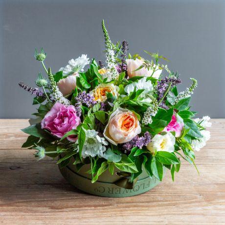 david austin florist choice hat box arrangement