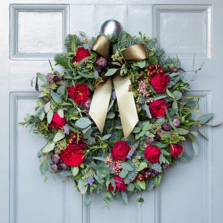 david austin tess fresh christmas door wreath