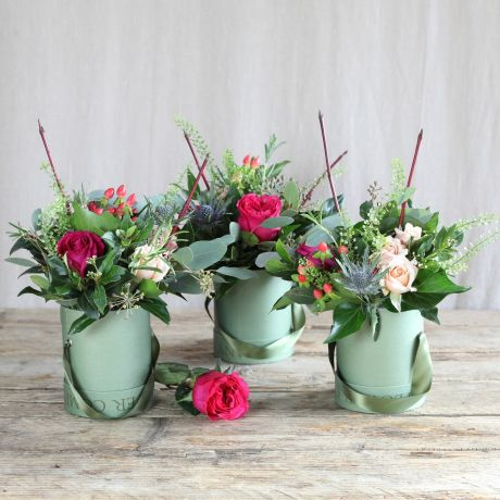 florist choice hatbox trio flowers