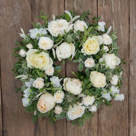 ivory funeral sympathy wreath