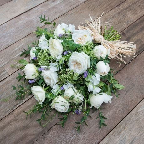 fresh ivory rose funeral sheaf