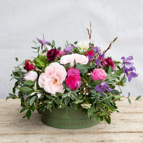 love is hatbox arrangement