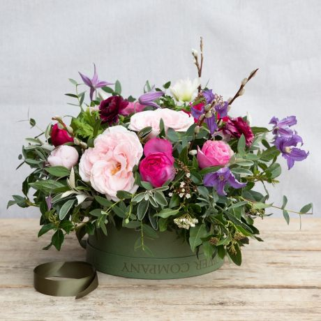 mixed pink pick of the day hatbox arrangement