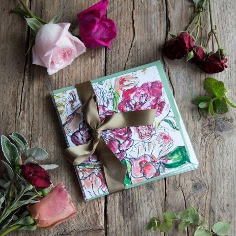 English Flower Garden Cards - Set Of Six  by Natasha Jade