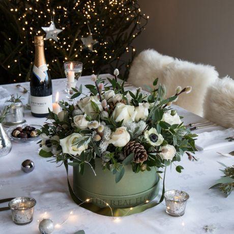 nordic christmas hat box arrangement