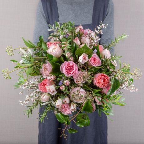pastel pink funeral bouquet