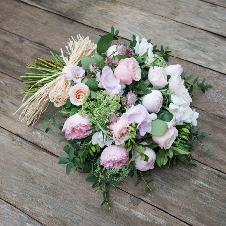 fresh rose hand tied pastel pink  funeral wreath
