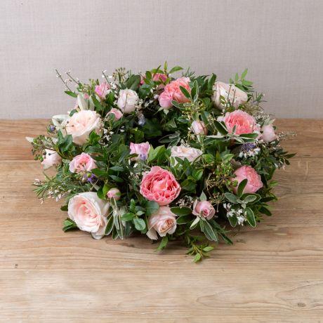 pastel pink funeral wreath