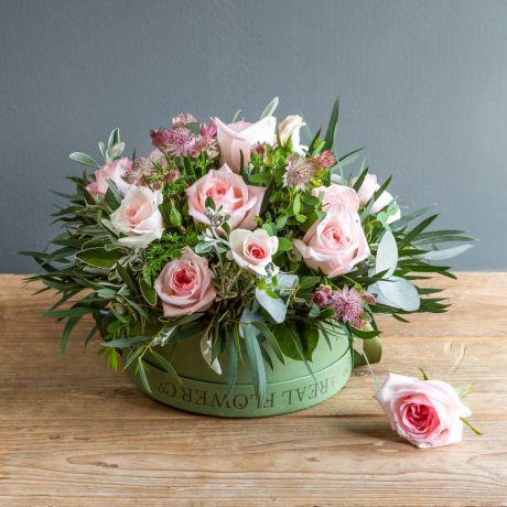 pastel pink pick of the day hat box arrangement - shot june 2021
