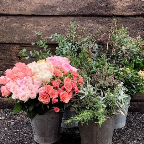Mixed Pastel Rose Box and Foliage Box