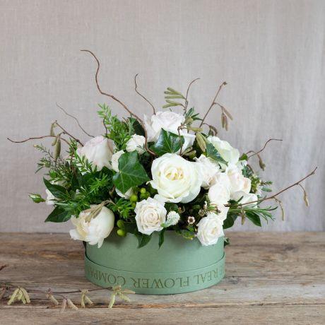 pure valentines hatbox arrangement