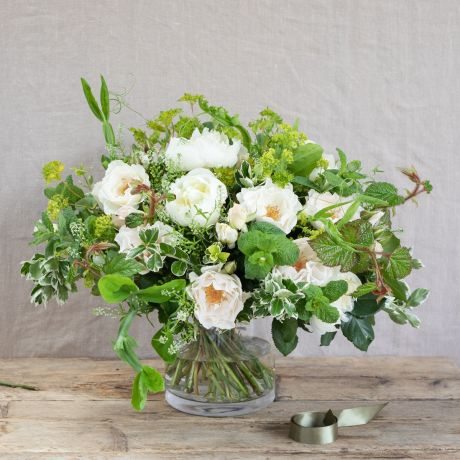 Pure White and Green Bouquet - Same day London flower deliveries